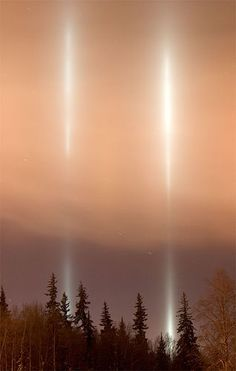 A light pillar is a visual phenomenon created by the reflection of light from ice crystals with near horizontal parallel planar surfaces