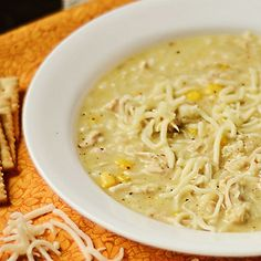 Slow Cooker Creamy Green Chile & Chicken Enchilada Soup