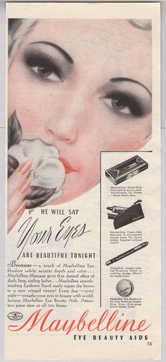 1940 Maybelline advert. Vintage beauty ad