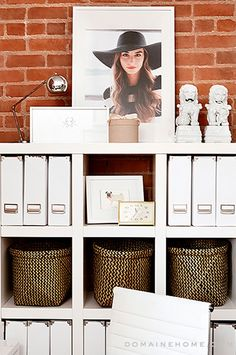 decor, the office, office storage, paper, crown, home office organization, lauren conrad, organization ideas, home offices