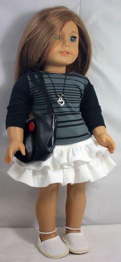 American Girl Doll ClothesRuffled Skirt T by buttonandbowboutique Ruffles Skirts, Girls Dolls, Dolls Clothing, American Dolls, American Girl Dolls, Clothesruffl Skirts, T Shirts, Drop Ruffles, American Girls