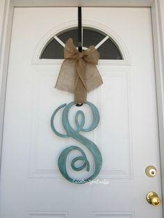 Single Letter Monogram Wooden Door Decor from Etsy #outdoordecor