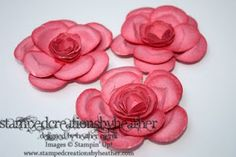 "Roses made with the Owl punch & 2 3/8"" Scallop Circle punch - link to video also"