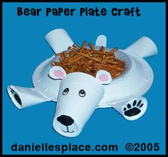 Polar Bear Paper Plate and Paper Cup Craft Kids Can Make from www.daniellesplace.com