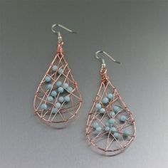 Amazonite Copper Wire Wrapped Tear Drop Earrings