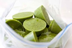 Green smoothie cups: Get TONS of nutrition in your morning smoothie without having to keep a fridge full of fruits and veggies all the time. Contains: coconut water, mint, spinach, mango, celery, almonds, honey, orange, and ginger.