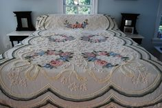 WOW!!!!!!!    Pair of Gorgeous Vintage Cabin Crafts Chenille Bedspreads, sold separately.. $145.00, via Etsy.