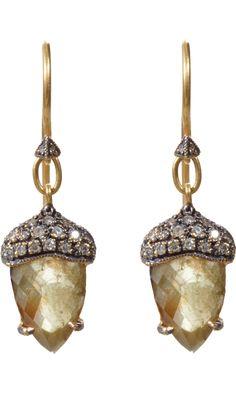 Cathy Waterman Rustic Diamond Acorn Earrings