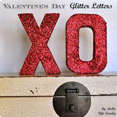 Make Life Lovely: Valentine's Day XO Glitter Letters