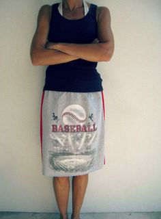 Baseball T Shirt Skirt / Heather Gray Red / Upcycled / by ohzie, $30.00  So stinkin' cute!!