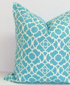 Blue Pillow.20x20 inch Lattice.Aqua.Pillow Cover