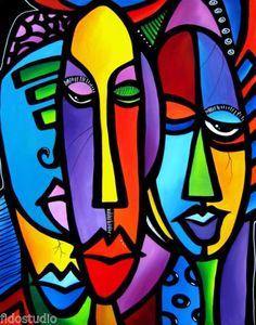 CRANIUM-Original-Abstract-Painting-Modern-Art-Faces-Print-decor-by-Fidostudio