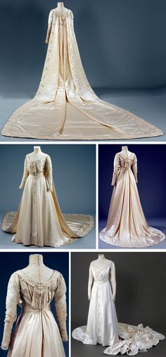 Wedding dress, Liberty of London, ca. 1905. Cream silk satin w/low round neck & pendant girdle emulating medieval style. Sleeves of machine-made lace at gilet, which has high boned band collar. Collar & girdle embroidered w/formal floral trails in white satin stitch enhanced w/pearls & trimmed w/fringe. Pearls also trim edges of gilet & cuffs. Lining is cream ribbed silk & bodice is lightly boned. Dress is slightly trained; medieval-style train falling from collar added. Victoria & Albert Museum