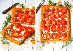 Recipes: Tomato tart; zucchini tart; puff pastry