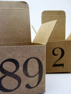 Kraft boxes with numbers.