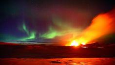 Northern lights + volcano