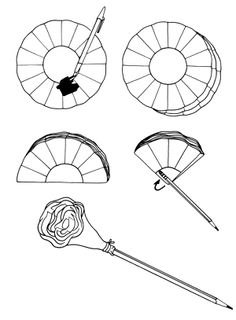 Coffee Filter Flower Pencil Craft - Mother's Day - May - KinderArt (use a pen)