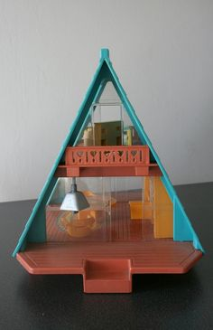Vintage Fisher Price Little People A-frame House ~ I had this.