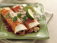 Chicken Enchiladas - These are amazing!!!! You blend the enchilada sauce with cilantro, parsley, lime juice and garlic.