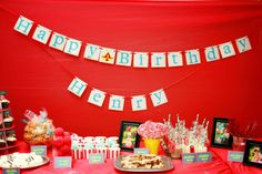 Check out the sweet details of this circus-themed birthday party.