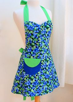 Our latest apron with just a bit of swing to the skirt - Womens Blueberries  Apron by BlueStarVermont on Etsy,