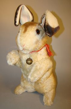 Vintage 1950's Steiff Large Rabbit Jointed Arms & Bell 18 x 9 x 9 on hind legs