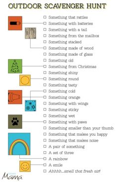 Free Printable Outdoor Scavenger Hunt Card from Today's Mama #scavenger #hunt #card