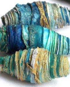 8 mixed media textile art fiber beads hand made with Tyvek - DEEP OCEAN - aquamarine emerald ocean green turquoise sea blue grey surf gold