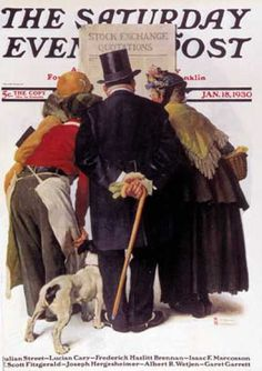 """Saturday Evening Post - 1930-01-18: """"Stock Exchange Quotations"""" (Norman Rockwell)"""