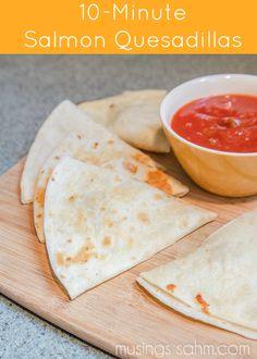 10 minute Salmon Quesadillas recipe - quick & easy family favorite meal