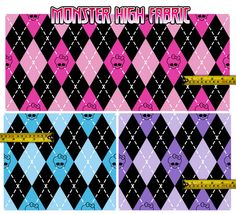 F02  Monster High fabric argyle in yards big pattern by AnaLinea, $20.75