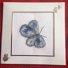 """We <3 this pretty card by Lorraine, """"Free gift from World of Cross Stitching - I just added a few extras to the card."""" This lovely card from our Madeleine Floyd free butterflies kit in issue 215, will be sure to raise a smile with the lucky recipient!"""