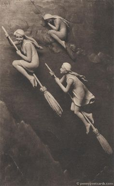 Vintage witch photo. #brooms