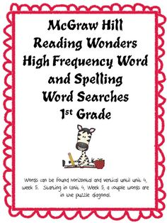 McGraw Hill Reading Wonders Word Searches include high frequency words ...