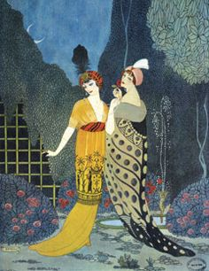 1912: Georges Barbier illustration of Poiret's flowing gowns.