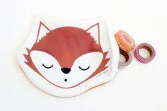 Fox Pouch  Cute Kawaii Style Animal Zipper Clutch by WonderForest
