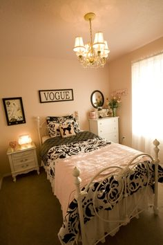 Girls Parisian-inspired bedroom~love that the ceiling is painted the same color as the walls! <3