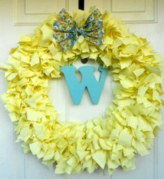 Spring Wreath by @Danielle Wagasky of @BlissfulDomestic - Visit our bowdabrablog.com to enter in our National Craft Month Many Uses of Ribbon Giveaway.