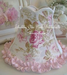 Shabby chic rose bark cloth lamp shade