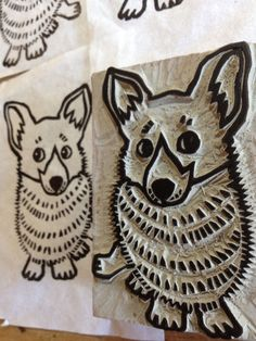 Corgi Stamp  hand carved linoleum block 2 x 3 by AyuTomikawaART, $15.00