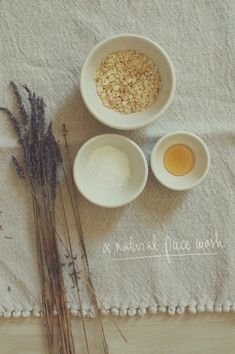 DIY Natural Face Wash Ingredients: 1 tbsp baking soda, 2 tbsp oatmeal, 1 tsp dried lavender.  Directions: Ground up all the dry ingredients together. Add a bit of honey to your palm, then add some of the dry ingredients (about a tsp) and mix together in your palm. Proceed to wash face with warm water and the mix.