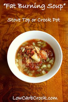 """Low Carb Crock Pot """"Fat Burning Soup""""  Ingredients: 6 green onions 1 (14.5 oz) can diced tomatoes + 1 cup crushed tomatoes 10 stalks celery 4 cloves garlic, crushed 1 small head of savoy cabbage salt/pepper to taste 3 chicken bouillon cubes herbs to taste (I like lots of fresh thyme) water to cover  1/3 cup grated parmesan"""