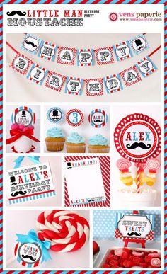little man moustache bash party , DIY printables by www.venspaperie.com