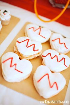 themed birthday parties, nurs theme, heart cookies, doctor nurs, grad parti