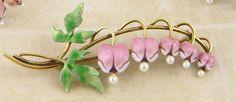 Art Nouveau 14 kt Gold Enamel Seed Pearl BLEEDING HEART