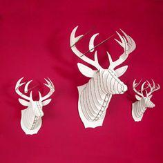 deer trophi, cardboard safari, bucki cardboard, craft idea, cardboard anim, cardboard trophi, anim trophi, christma, cardboard deer