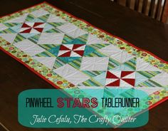 Christmas Pinwheel Stars Table runner, directions included!