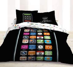 Call Me Teen Bedding Mobile Phone Themed Twin Duvet Comforter Cover Set LE296T Intro Price $125 for twin.(Or full/queen LE296Q $149)