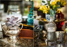 Vintage Silver Wedding Vases