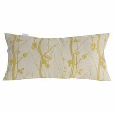 """Bring a touch of natural inspiration to your sofa or favorite reading nook with this charming pillow, featuring a flowering branch motif.  Product: PillowConstruction Material: Polyester cover and polyester fillColor: Yellow and white  Features:Flowering branch motifInsert included  Dimensions: 13.78"""" x 27.6"""""""